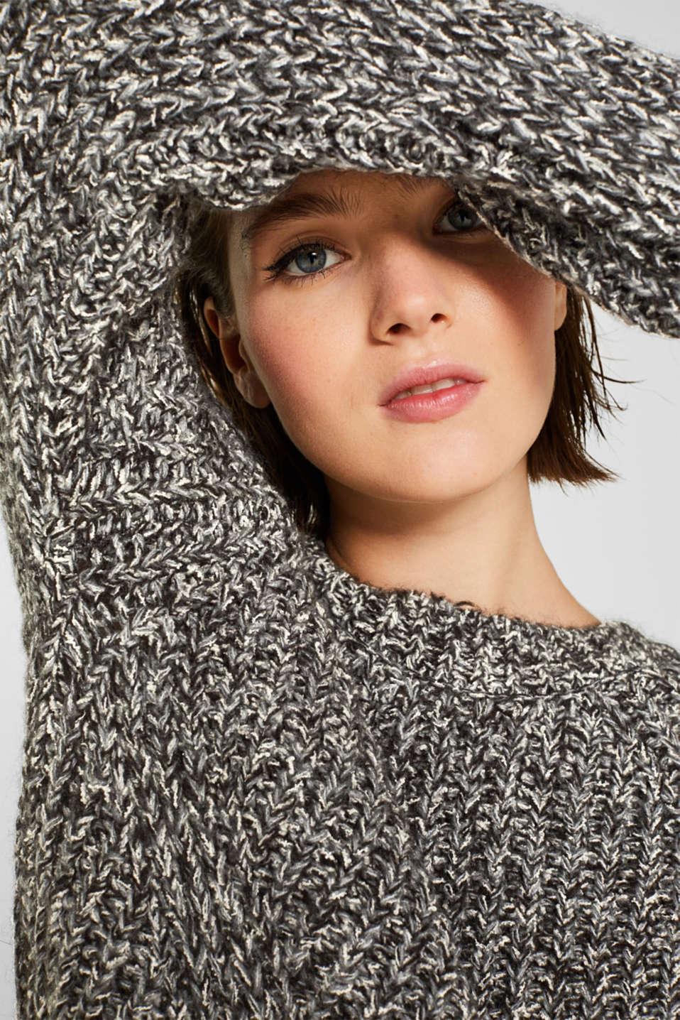 With wool: mouliné jumper, GUNMETAL 4, detail image number 2