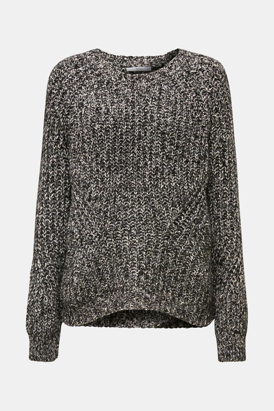 With wool: mouliné jumper, GUNMETAL 4, detail image number 7