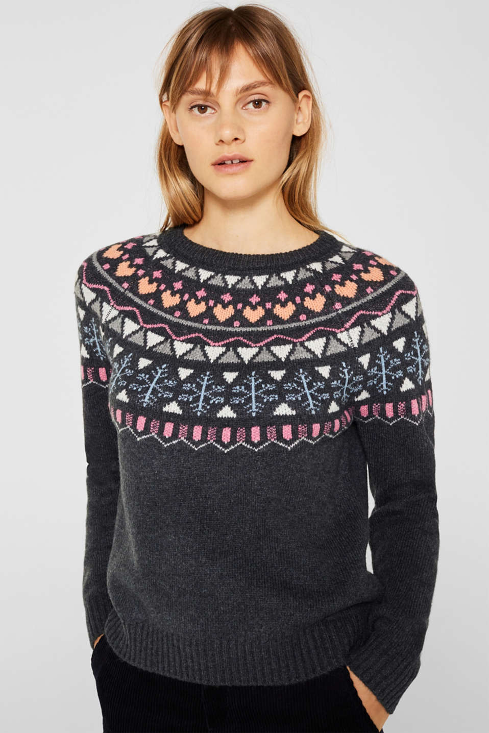 edc - With wool: stretch jumper with a jacquard shoulder yoke