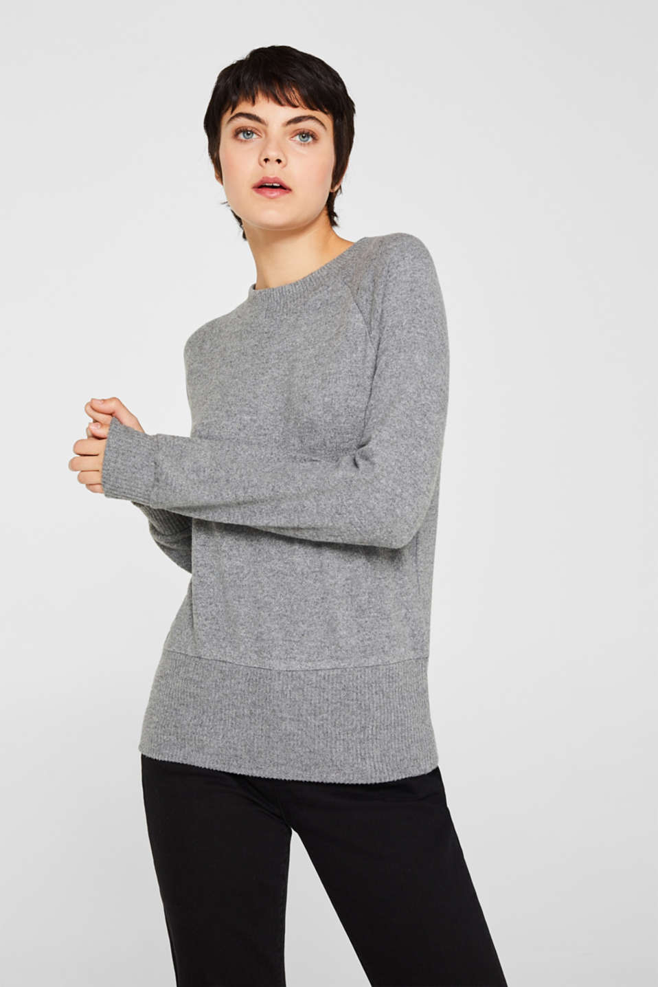 Fluffy sweatshirt with fine melange, GUNMETAL 5, detail image number 0