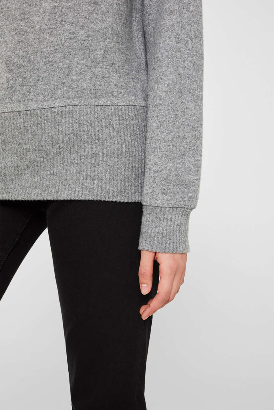 Fluffy sweatshirt with fine melange, GUNMETAL 5, detail image number 2
