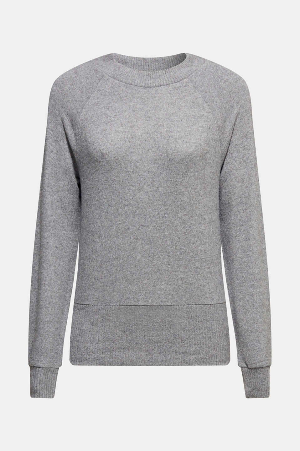 Fluffy sweatshirt with fine melange, GUNMETAL 5, detail image number 7