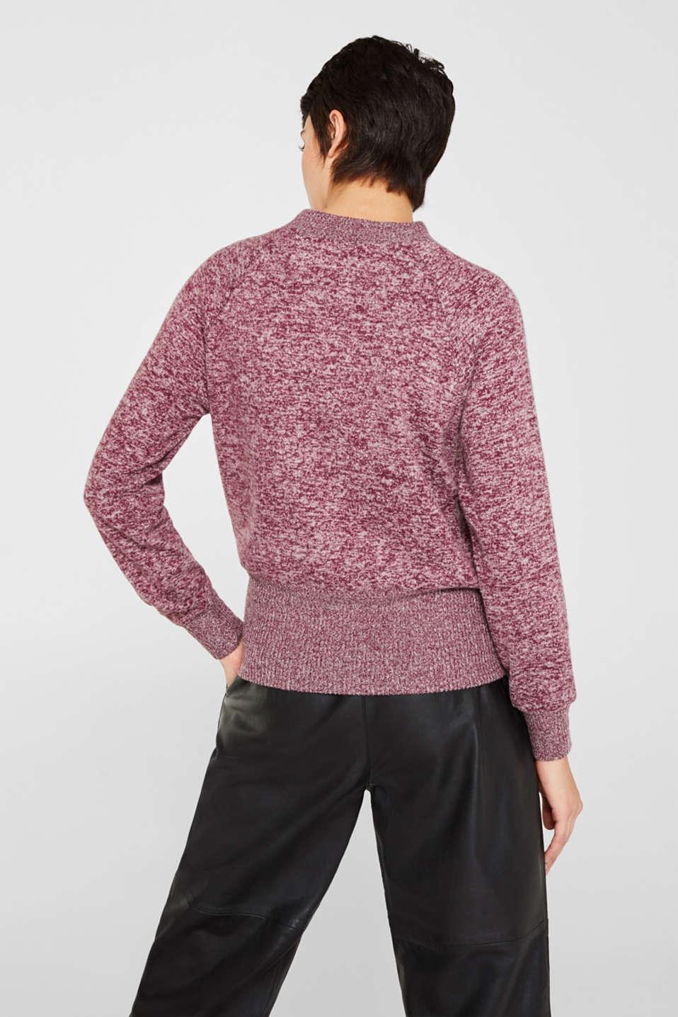 Fluffy sweatshirt in a melange finish, BORDEAUX RED 5, detail image number 3
