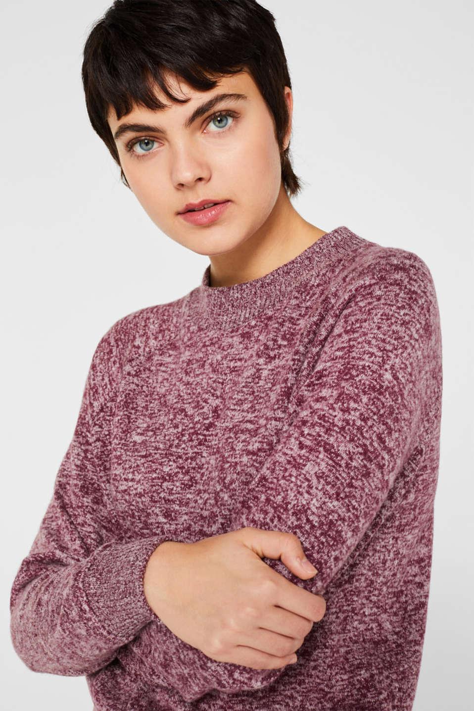 Fluffy sweatshirt in a melange finish, BORDEAUX RED 5, detail image number 5