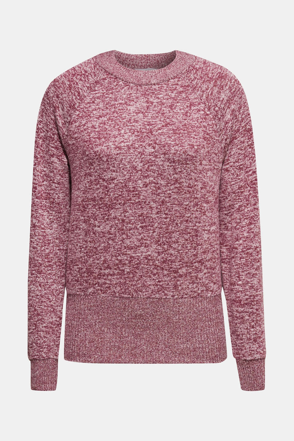 Fluffy sweatshirt in a melange finish, BORDEAUX RED 5, detail image number 6