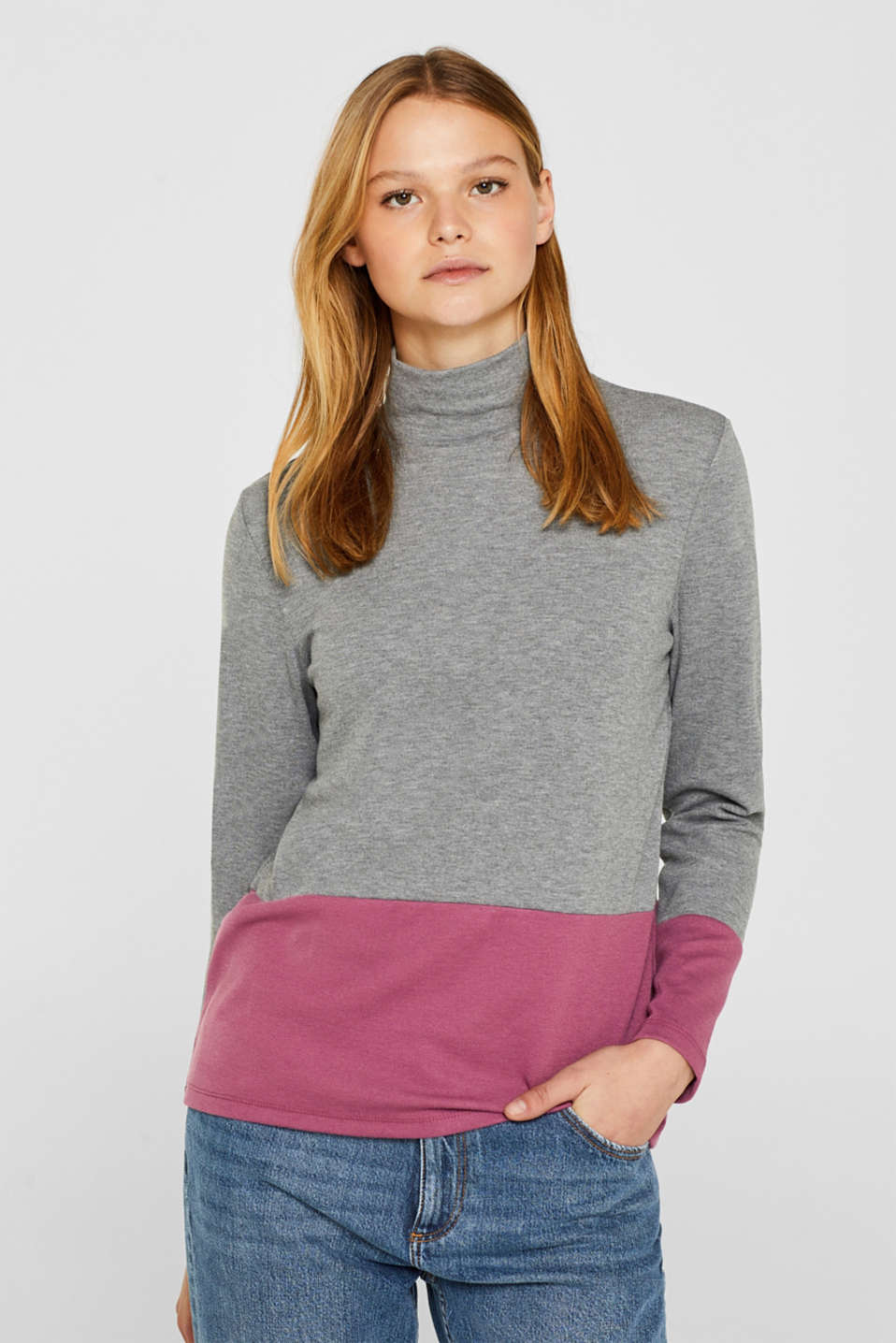 edc - Colour block-longsleeve med stretch