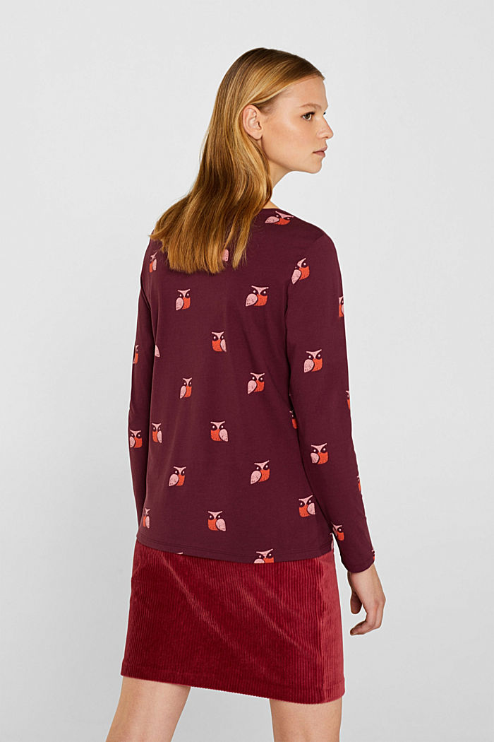 Printed long sleeve top, 100% cotton, BORDEAUX RED, detail image number 3