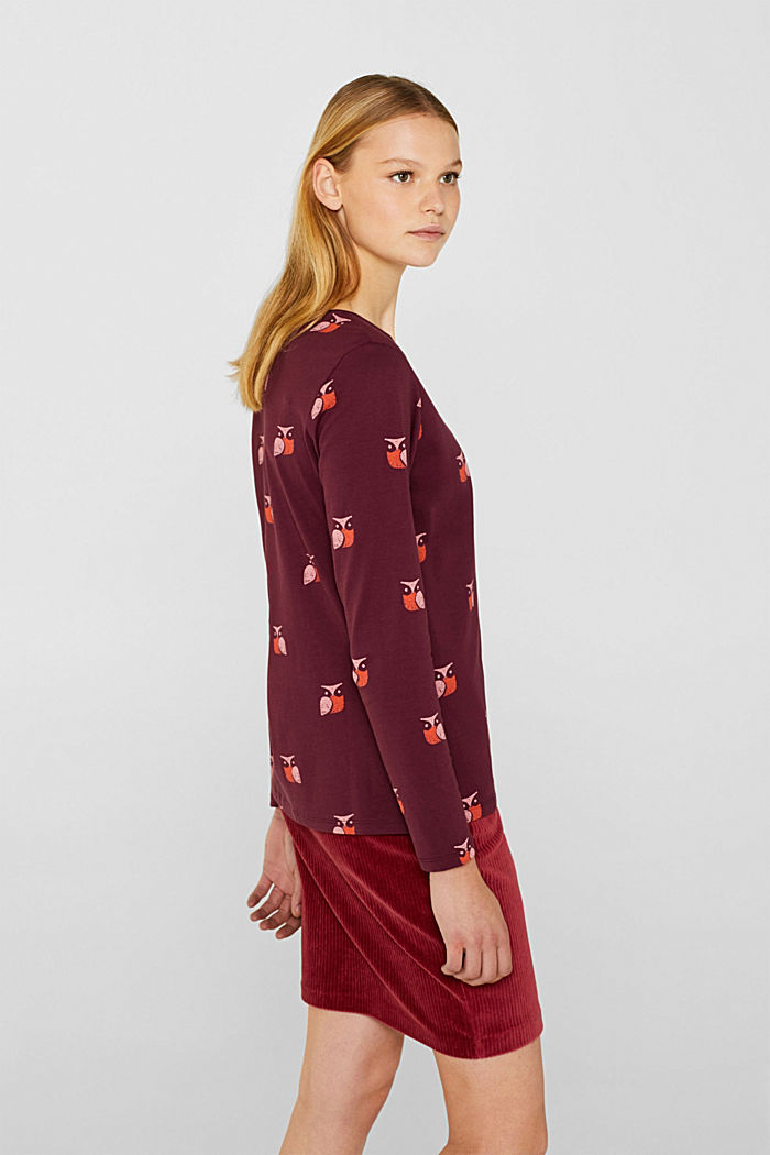 Printed long sleeve top, 100% cotton, BORDEAUX RED, detail image number 5