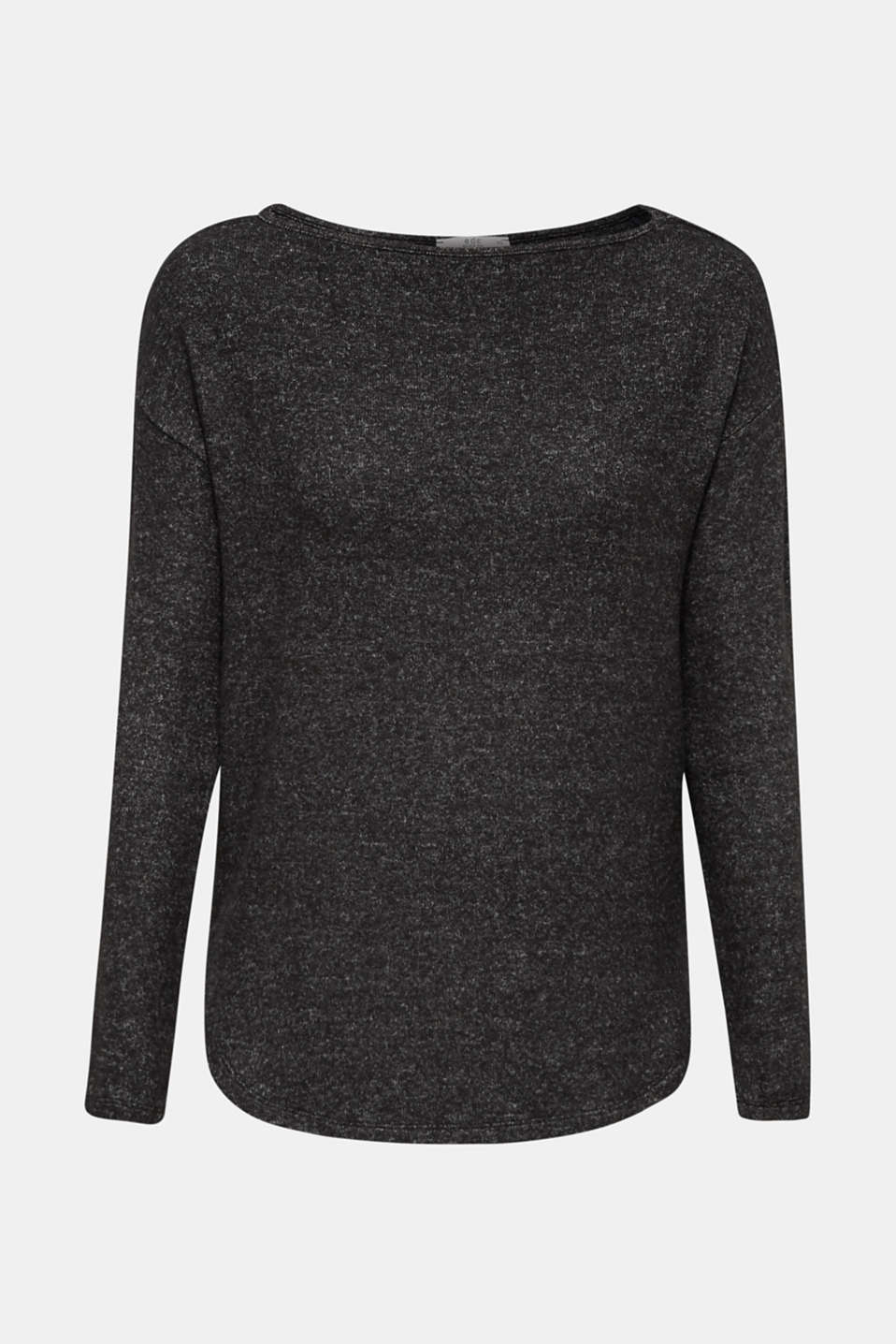 Soft long sleeve top with lace at the back, BLACK, detail image number 5