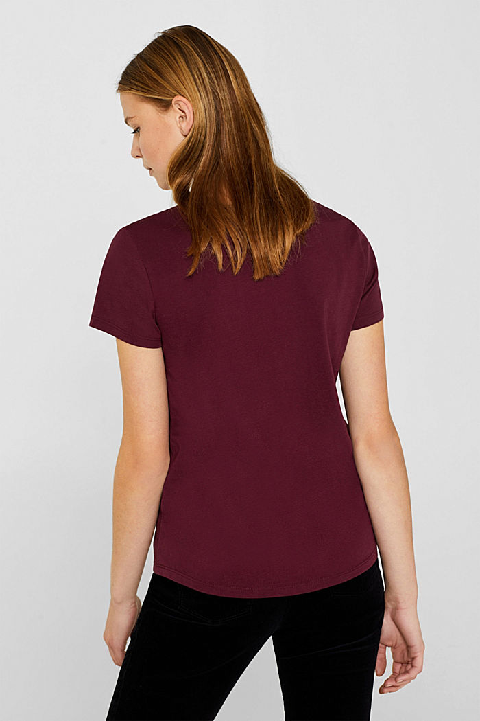T-shirt with a print, 100% cotton, BORDEAUX RED, detail image number 3