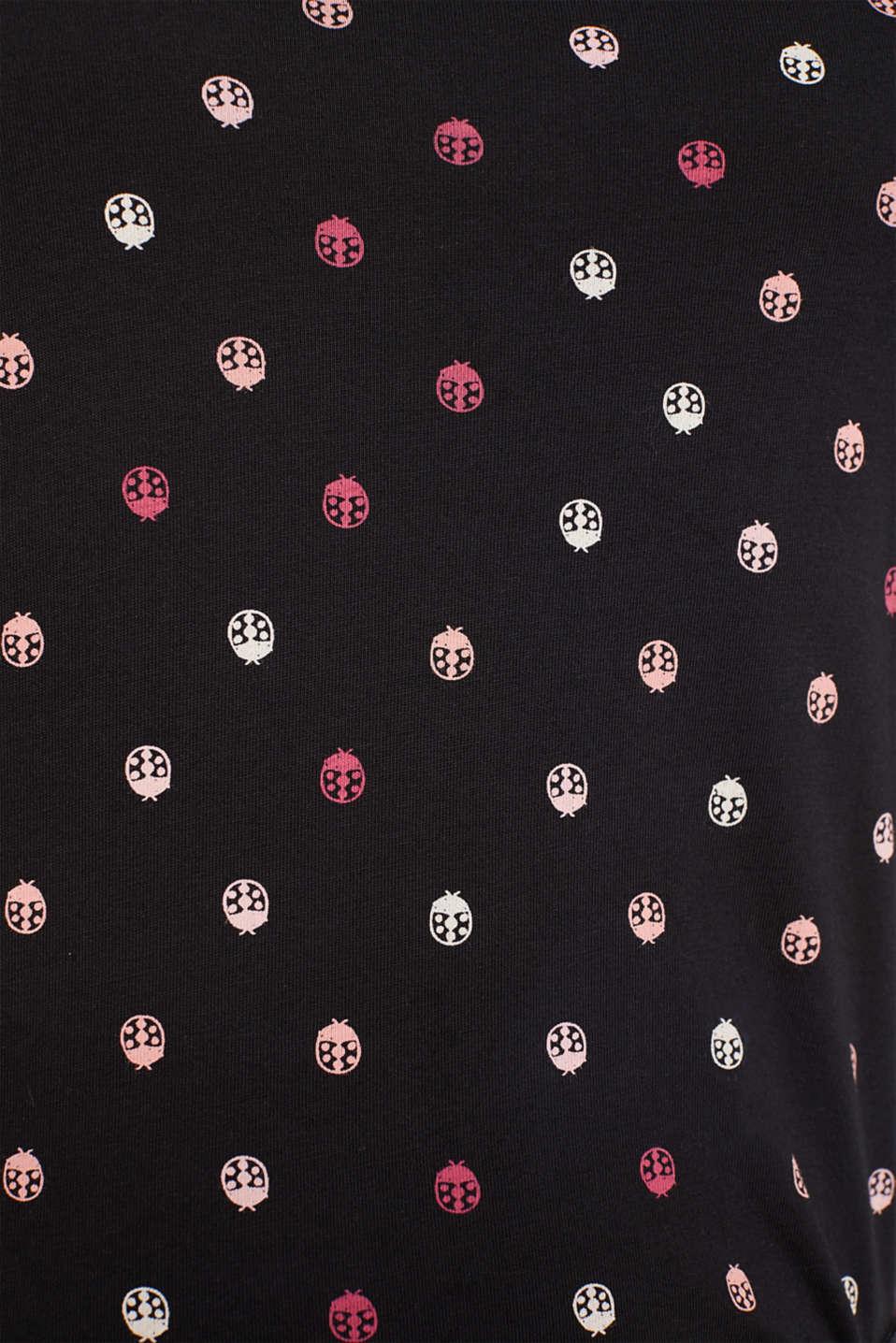 Printed long sleeve top, 100% cotton, BLACK, detail image number 4