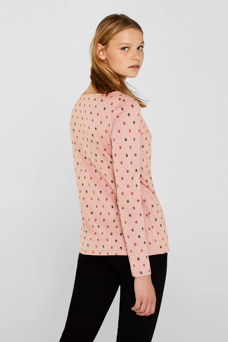 Printed long sleeve top, 100% cotton, OLD PINK, detail image number 3