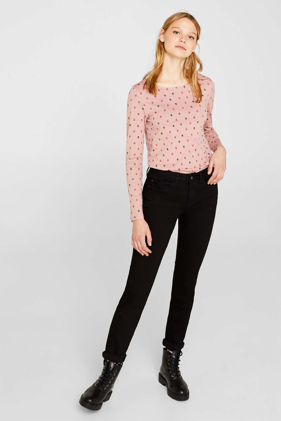 Printed long sleeve top, 100% cotton, OLD PINK, detail image number 1
