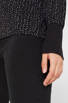 Long sleeve top with a metallic print