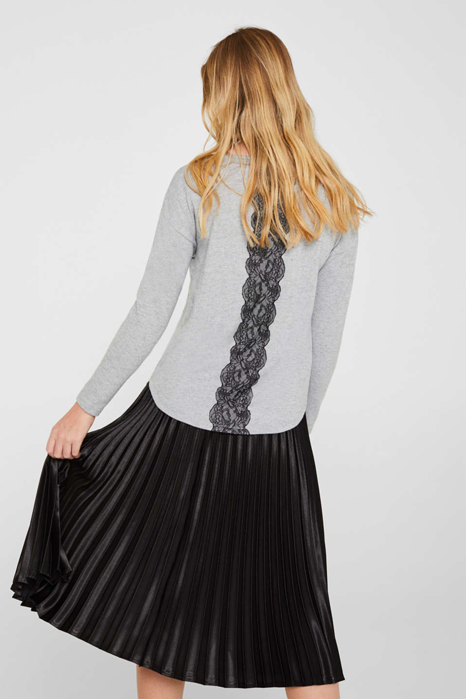 Fluffy long sleeve top trimmed with lace, LIGHT GREY 5, detail image number 3