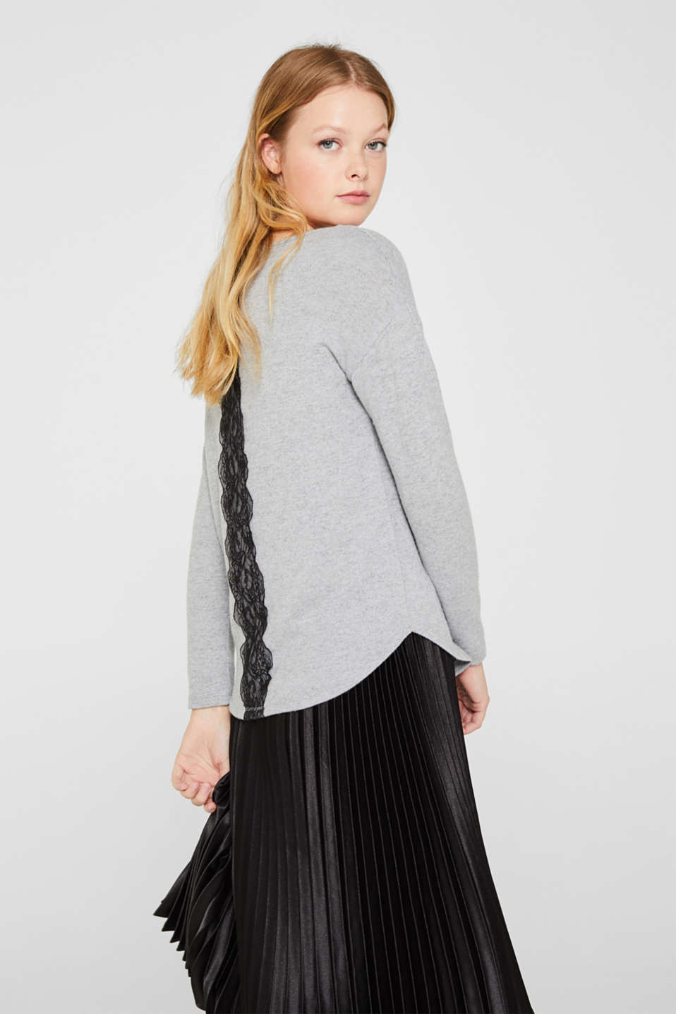 Fluffy long sleeve top trimmed with lace, LIGHT GREY 5, detail image number 5