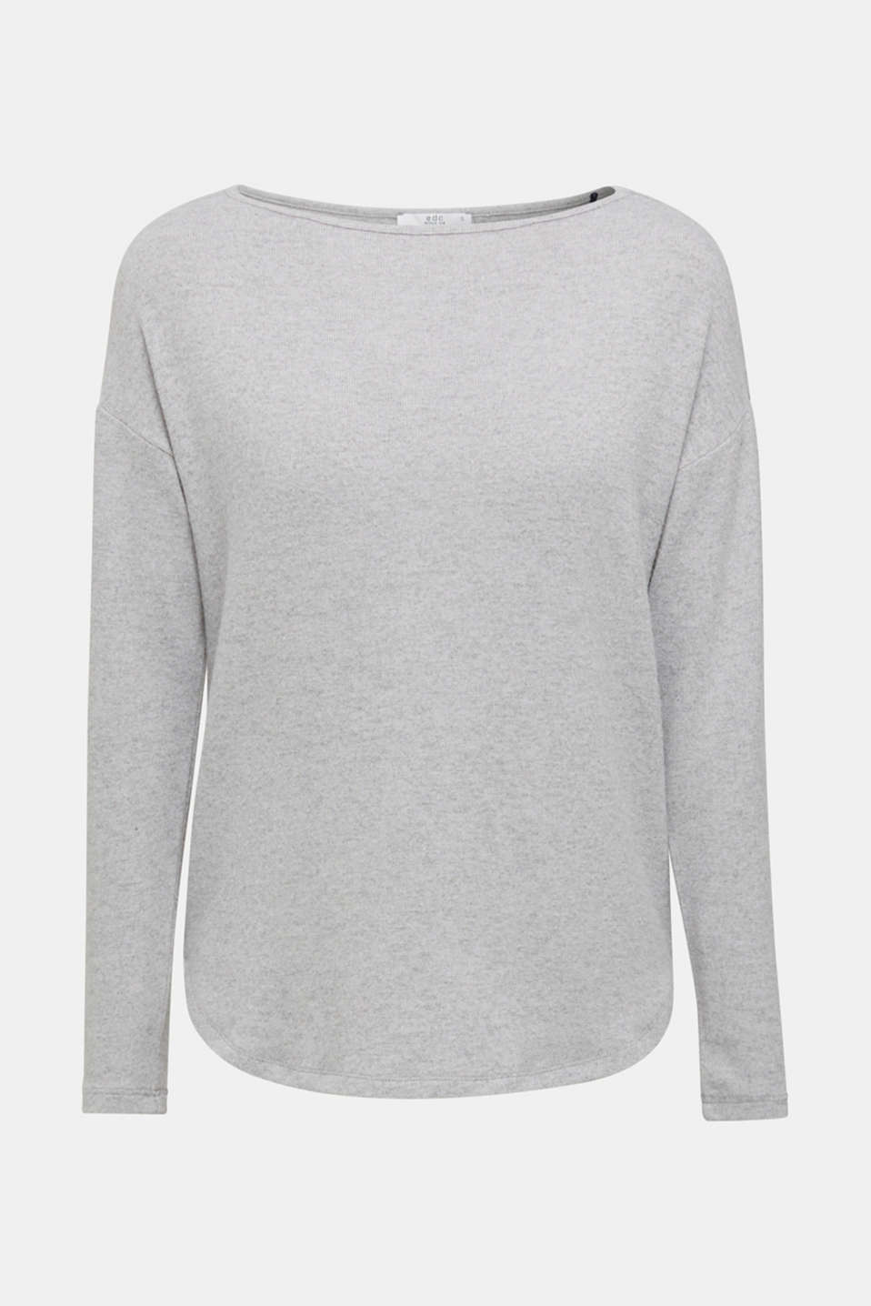 Fluffy long sleeve top trimmed with lace, LIGHT GREY 5, detail image number 7