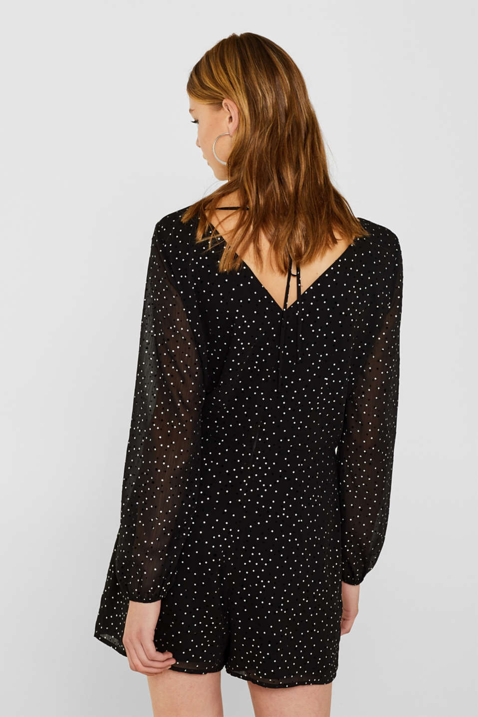 Chiffon playsuit with a shimmering print, BLACK, detail image number 3