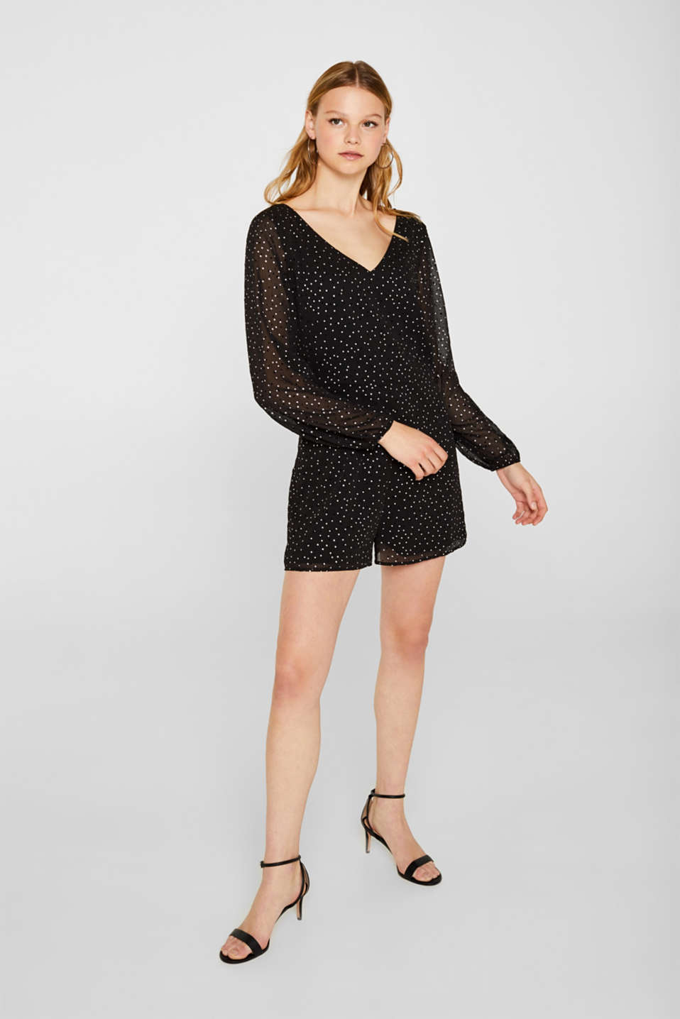 Chiffon playsuit with a shimmering print, BLACK, detail image number 1