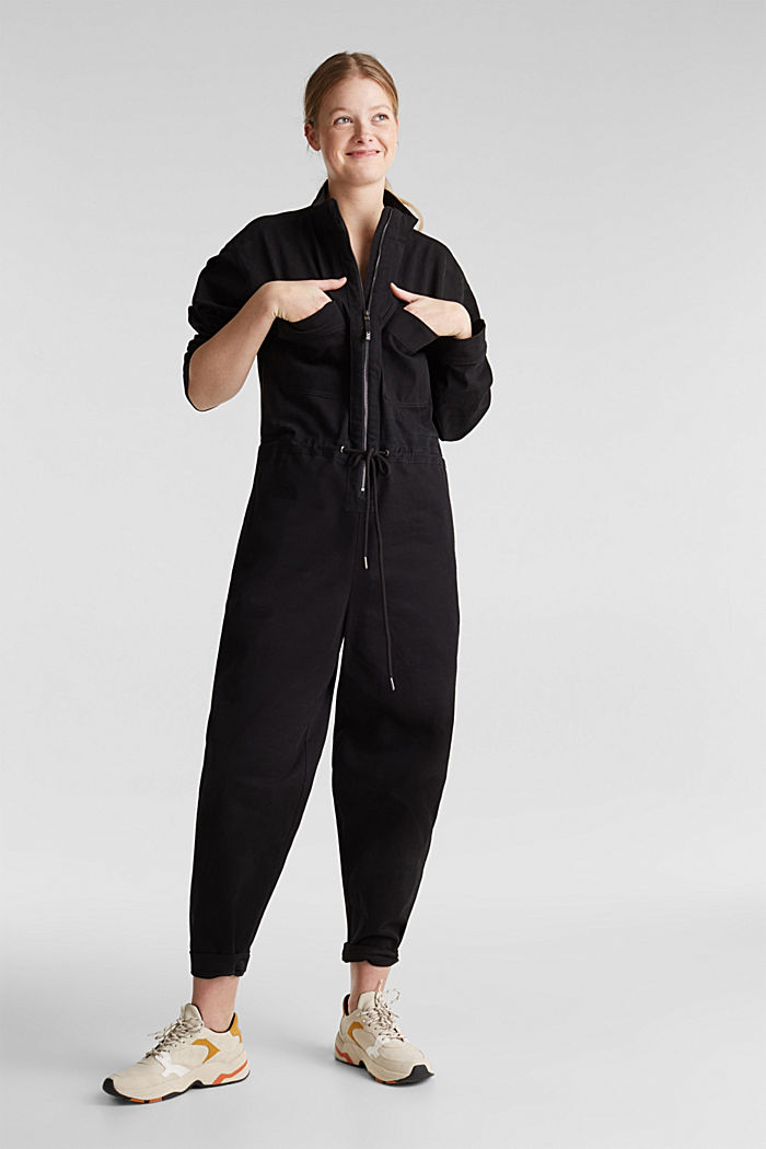 Boiler suit made of stretch cotton, BLACK, detail image number 5