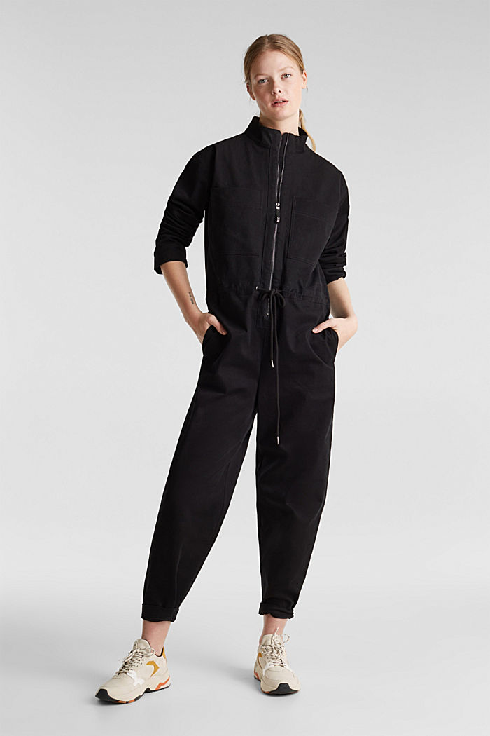 Boiler suit made of stretch cotton, BLACK, detail image number 1