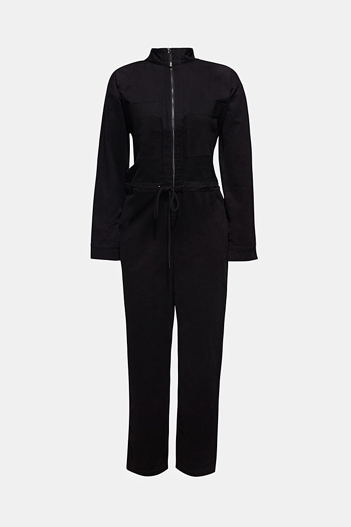 Boiler suit made of stretch cotton, BLACK, detail image number 6
