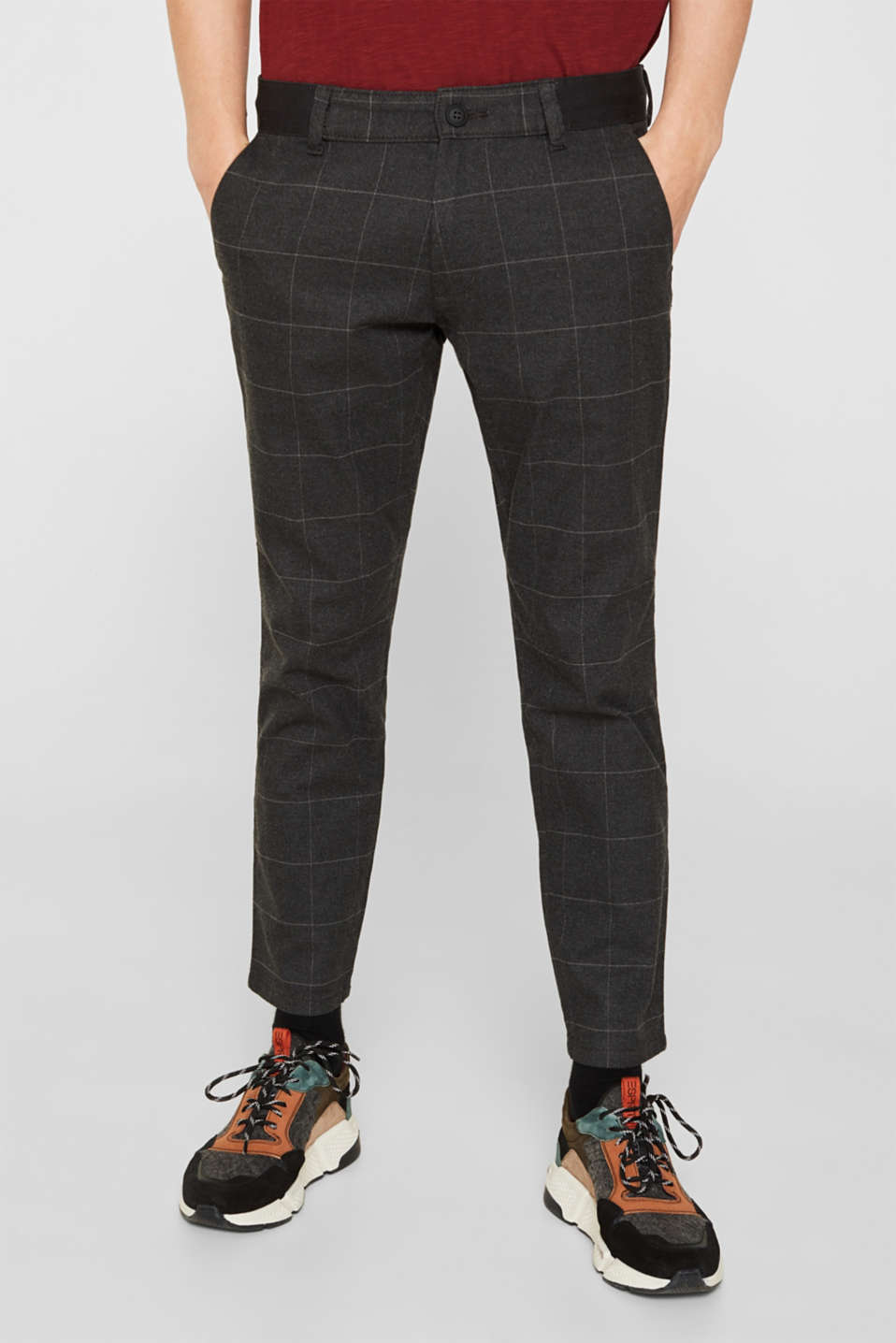 edc - Cropped stretch trousers with a checked pattern