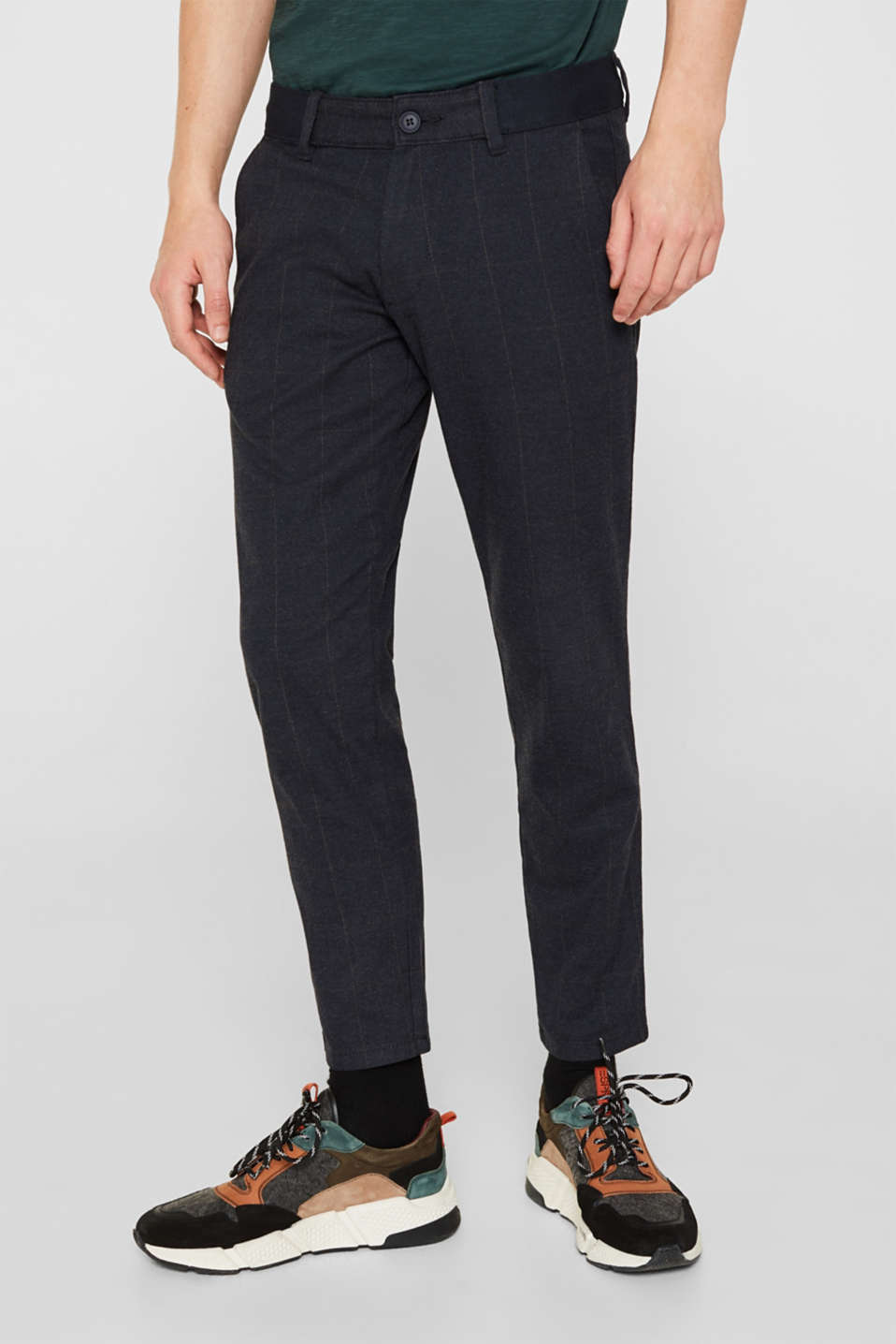 Cropped stretch trousers with a checked pattern, NAVY, detail image number 0