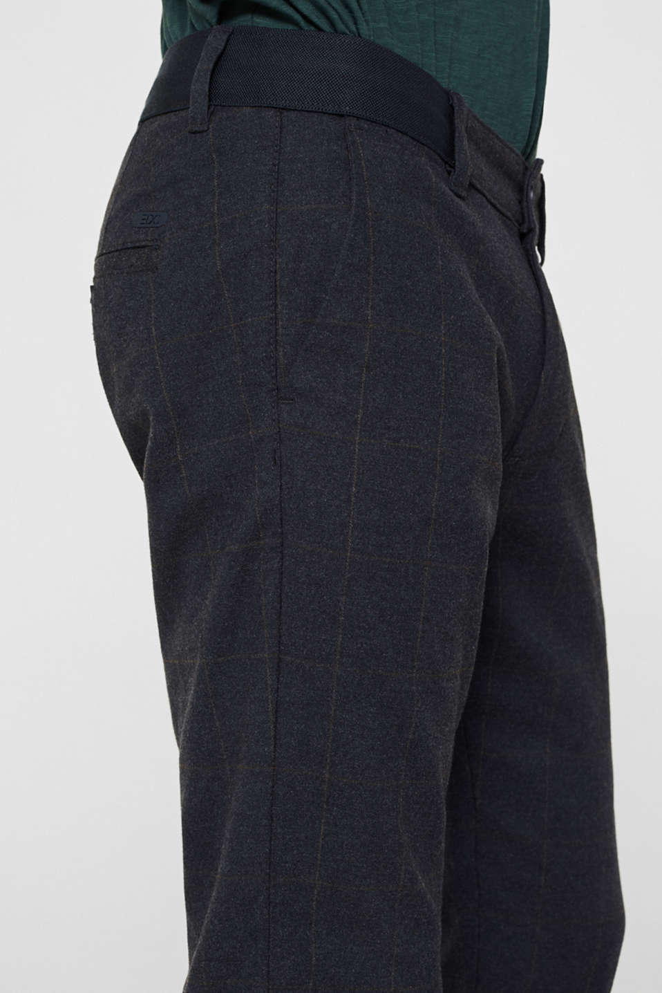 Cropped stretch trousers with a checked pattern, NAVY, detail image number 2