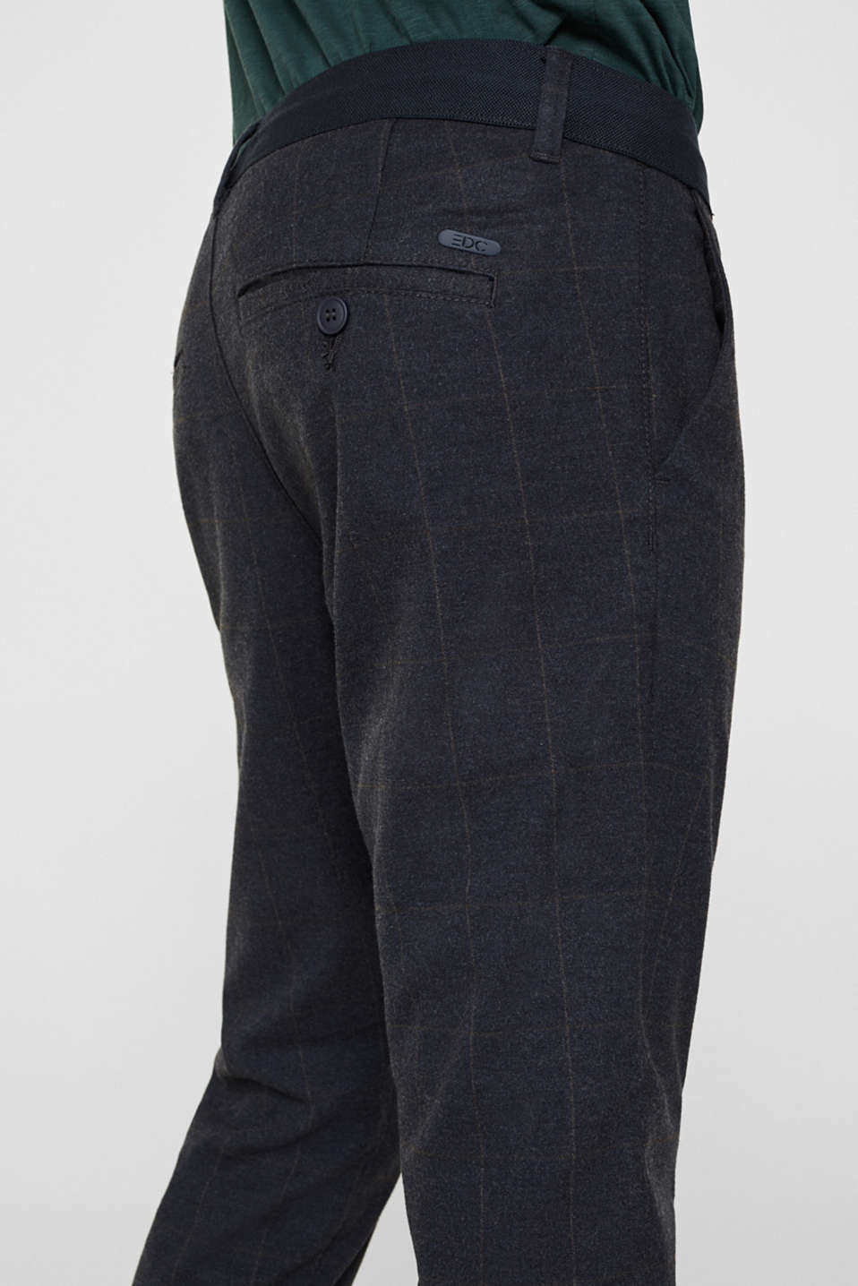 Cropped stretch trousers with a checked pattern, NAVY, detail image number 5