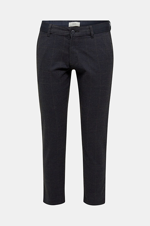 Cropped stretch trousers with a checked pattern