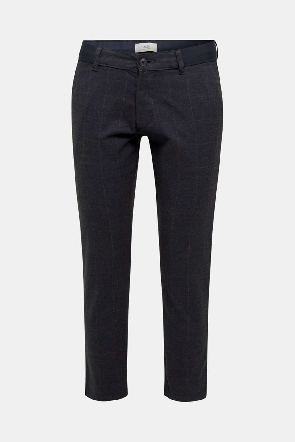 Cropped stretch trousers with a checked pattern, NAVY, detail image number 6