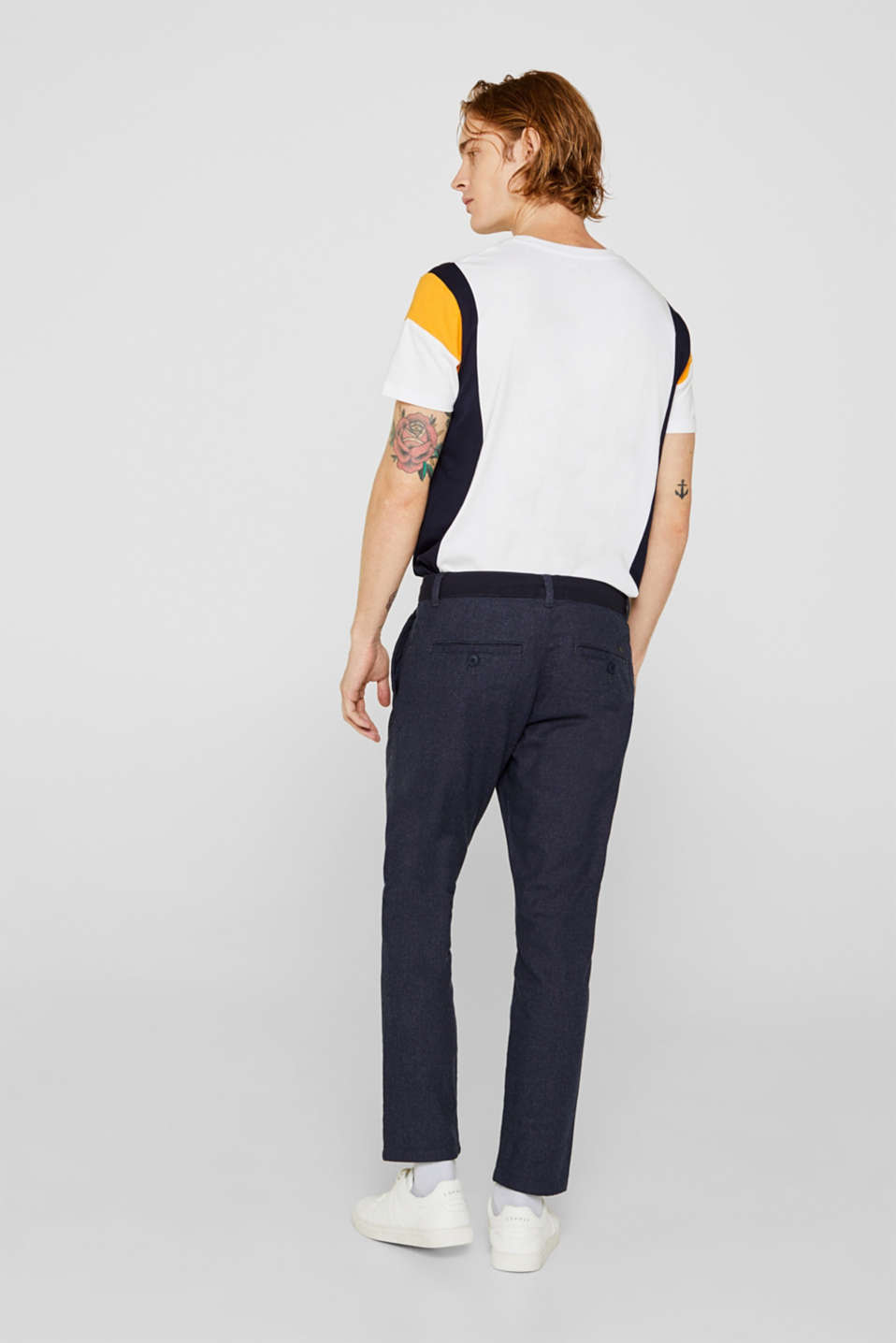Cropped trousers with a drawstring waistband, NAVY, detail image number 3