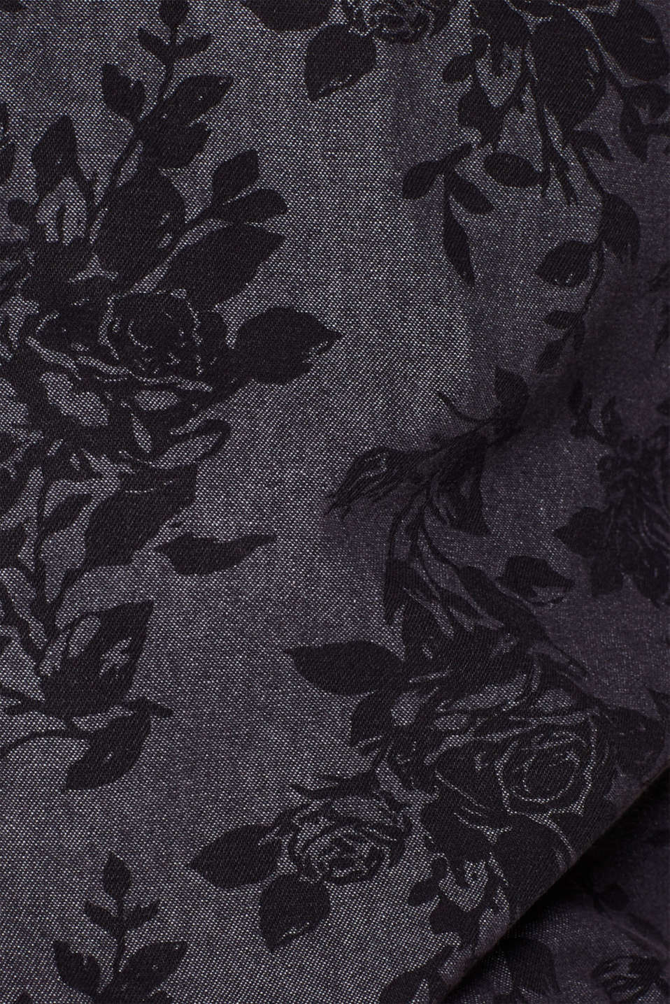 Denim top with a floral pattern, 100% cotton, BLACK, detail image number 4
