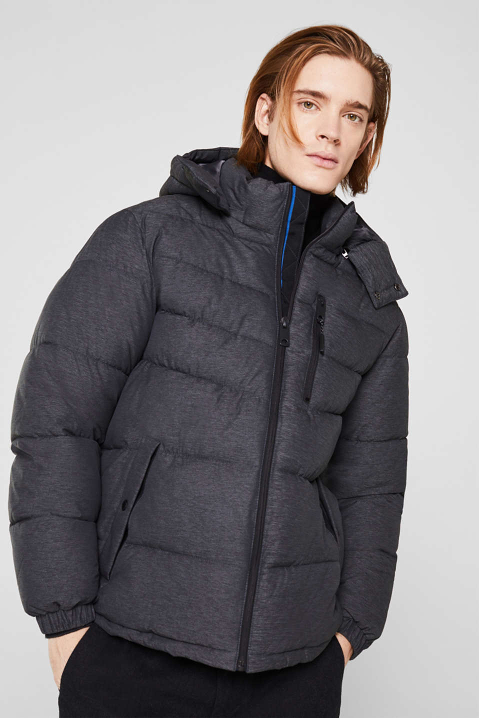 Quilted jacket with an adjustable hood, DARK GREY, detail image number 0