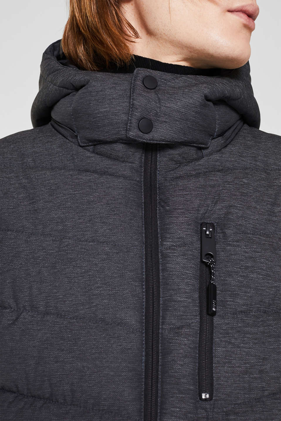 Quilted jacket with an adjustable hood, DARK GREY, detail image number 2