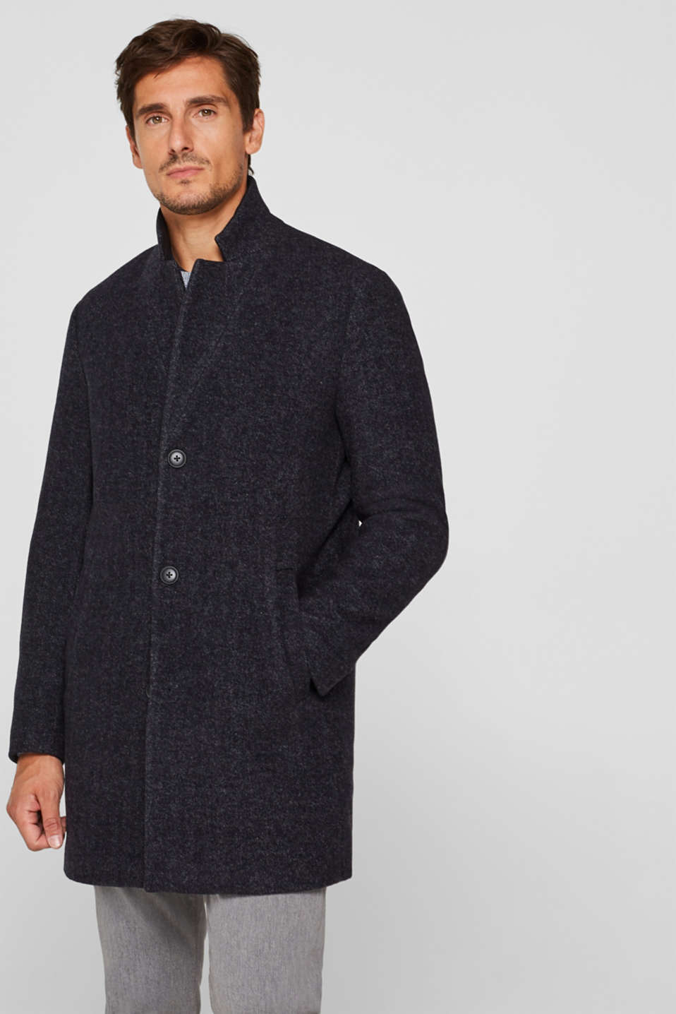 Wool blend: Coat with a herringbone pattern, ANTHRACITE, detail image number 0