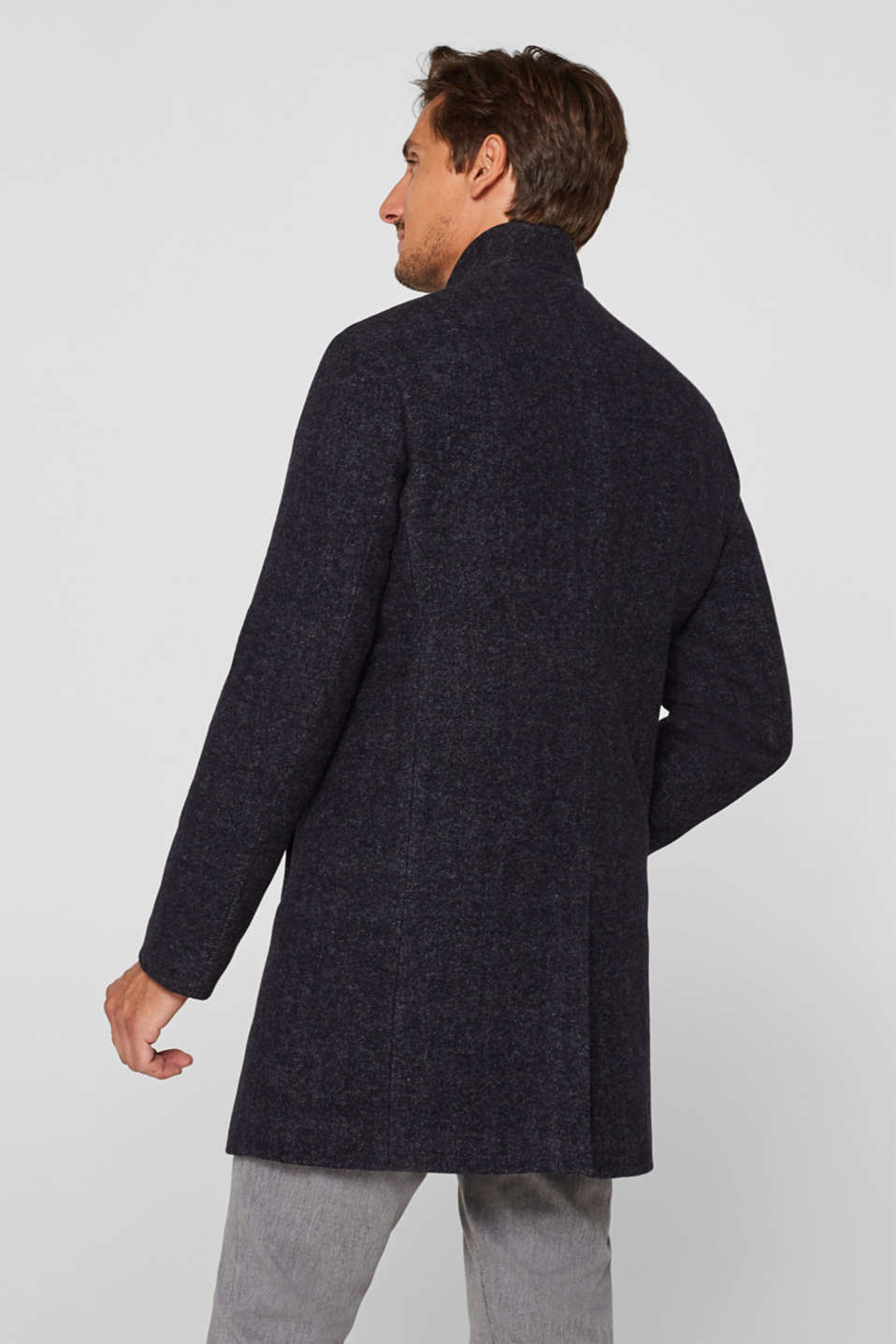 Wool blend: Coat with a herringbone pattern, ANTHRACITE, detail image number 3