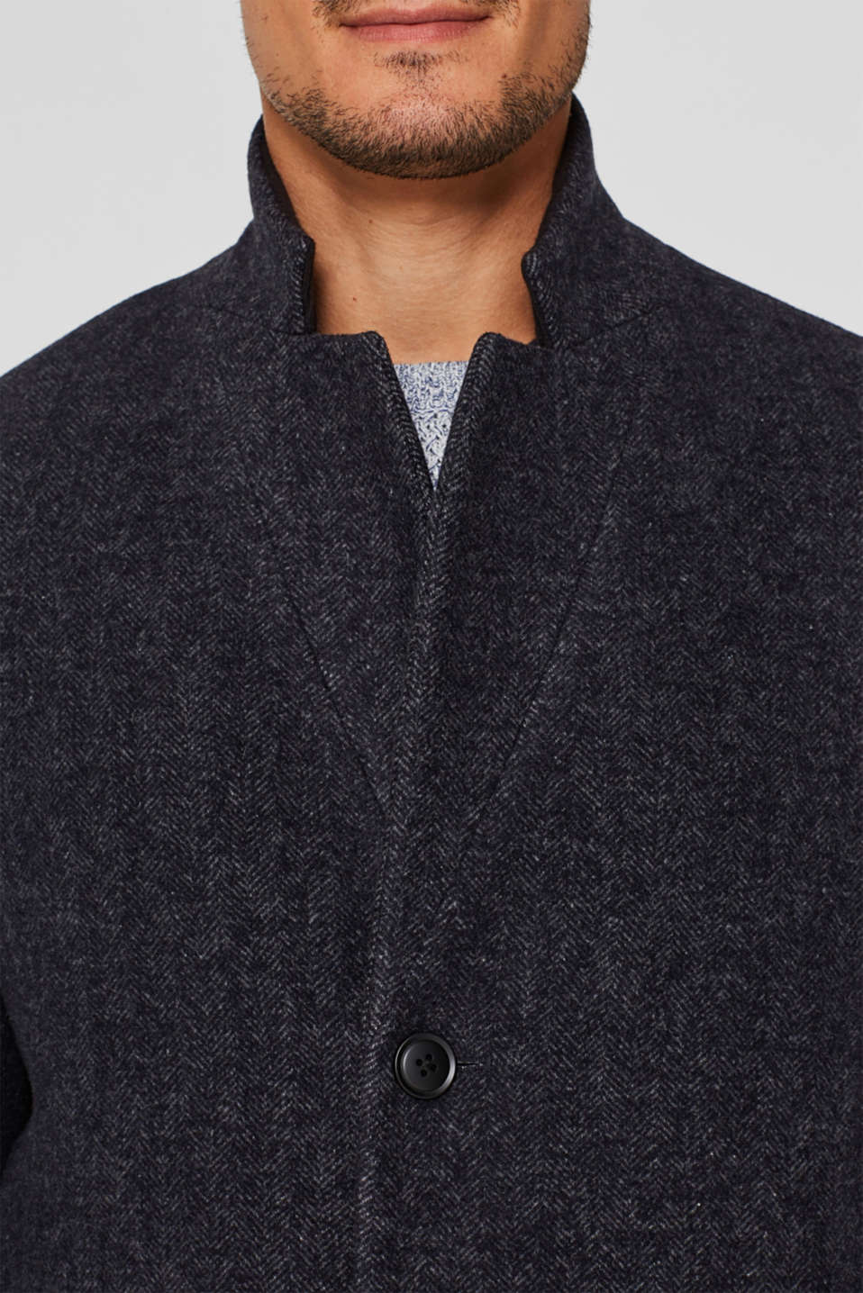 Wool blend: Coat with a herringbone pattern, ANTHRACITE, detail image number 2