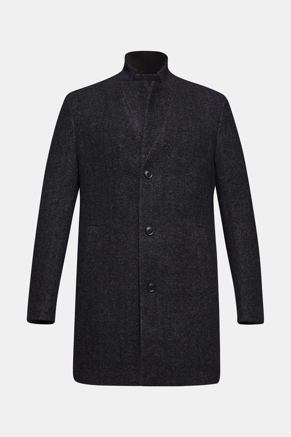 Wool blend: Coat with a herringbone pattern, ANTHRACITE, detail image number 6