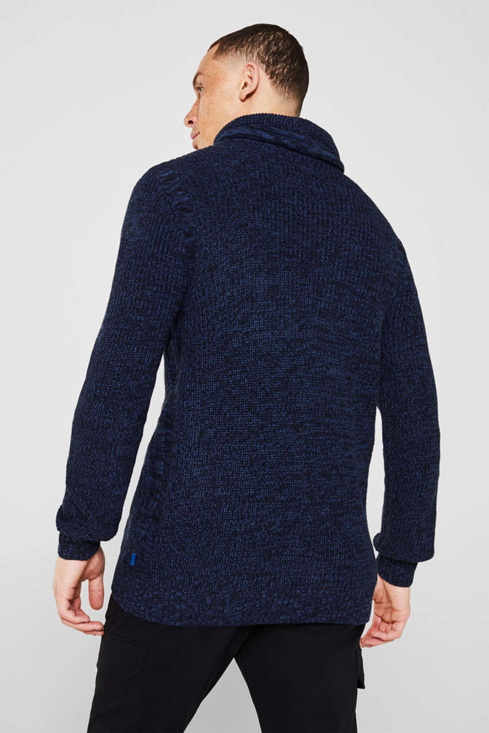 Knitted jumper with a drawstring collar, NAVY, detail image number 3