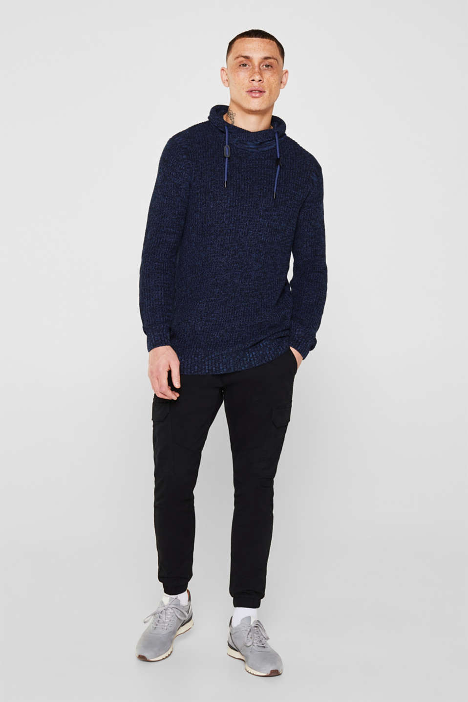 Knitted jumper with a drawstring collar, NAVY, detail image number 1