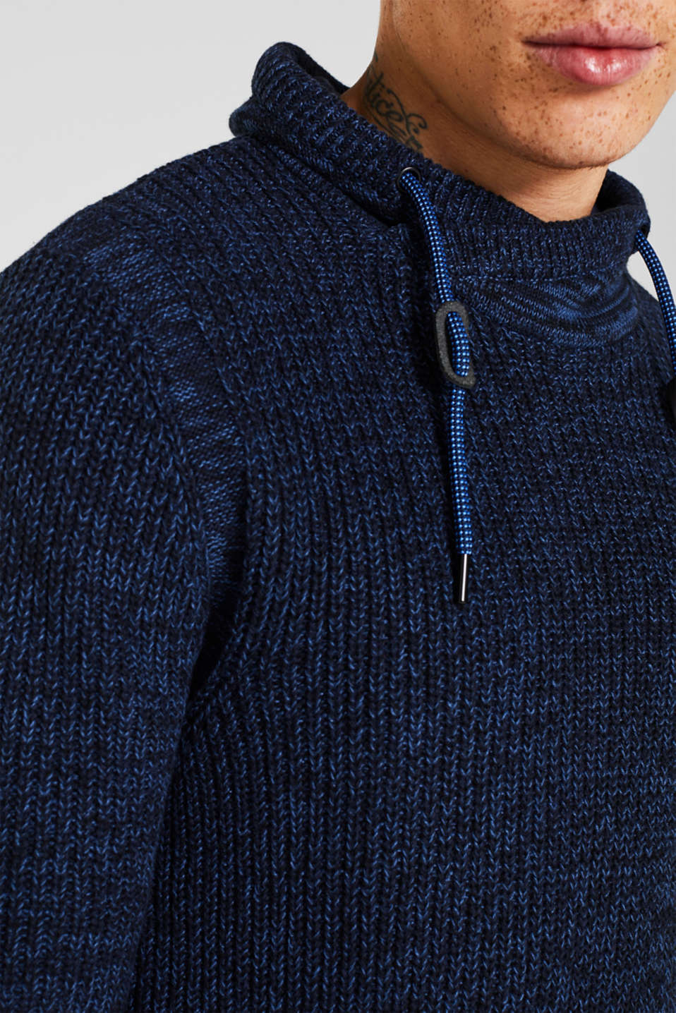 Knitted jumper with a drawstring collar, NAVY, detail image number 2