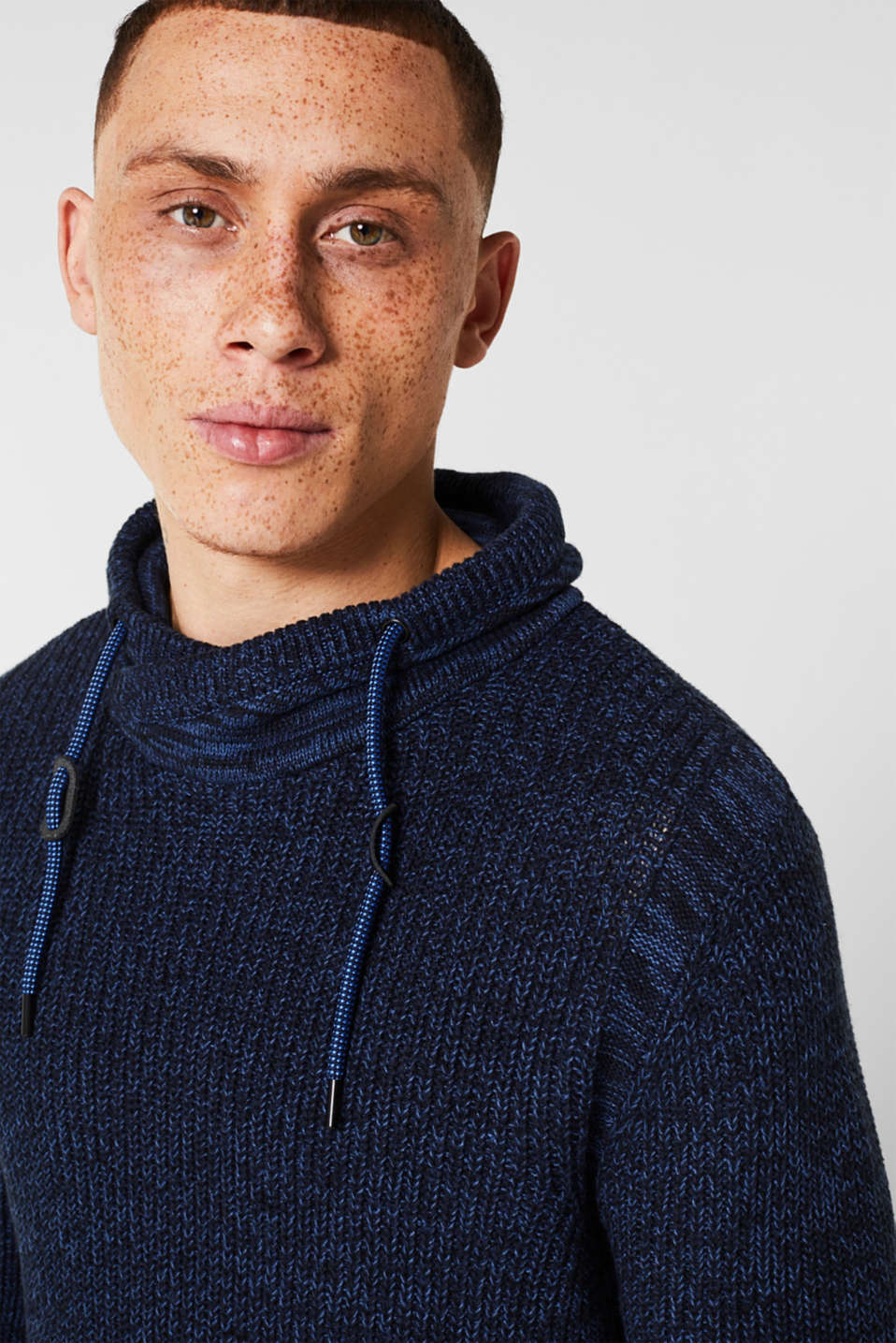 Knitted jumper with a drawstring collar, NAVY, detail image number 5