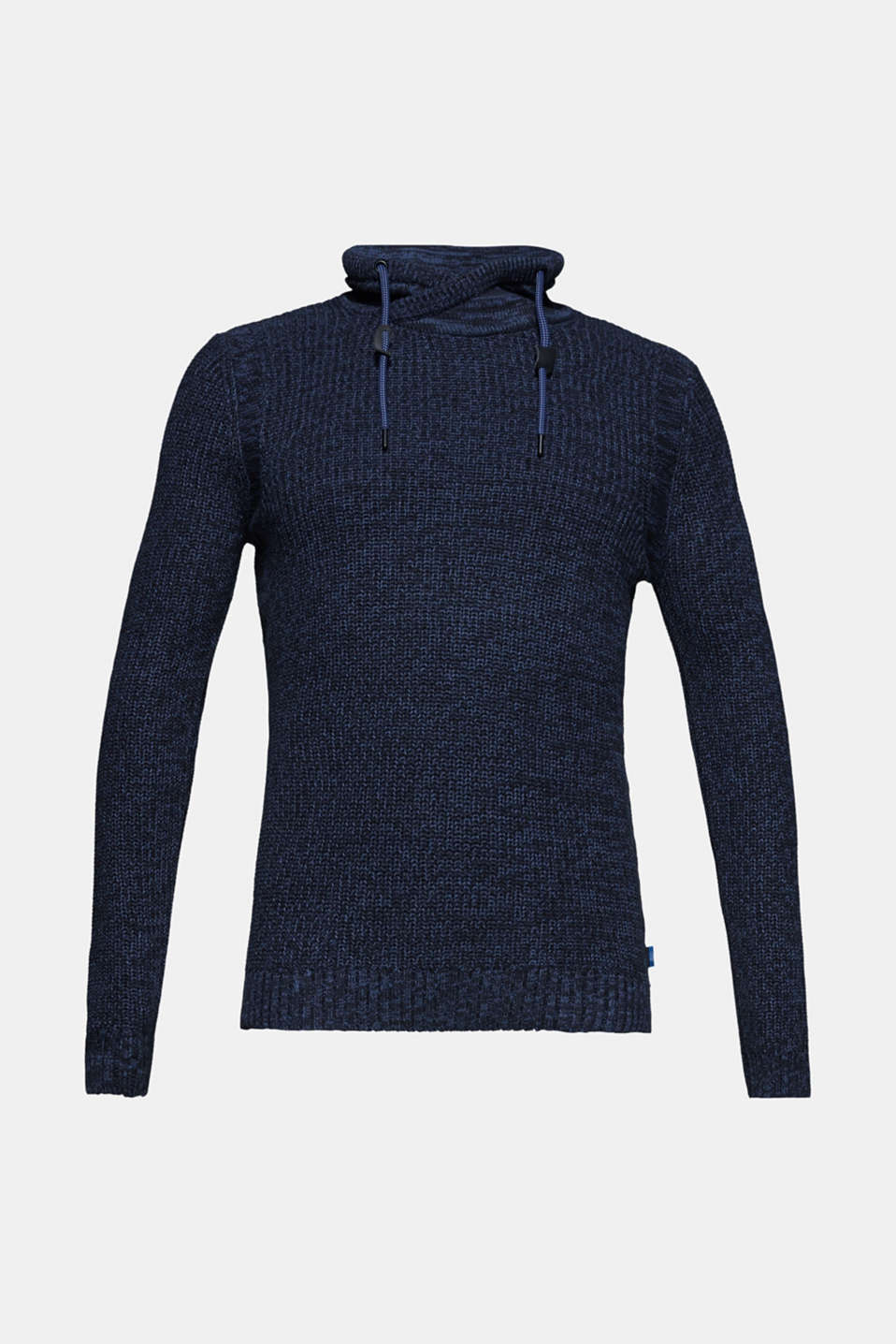 Knitted jumper with a drawstring collar, NAVY, detail image number 6