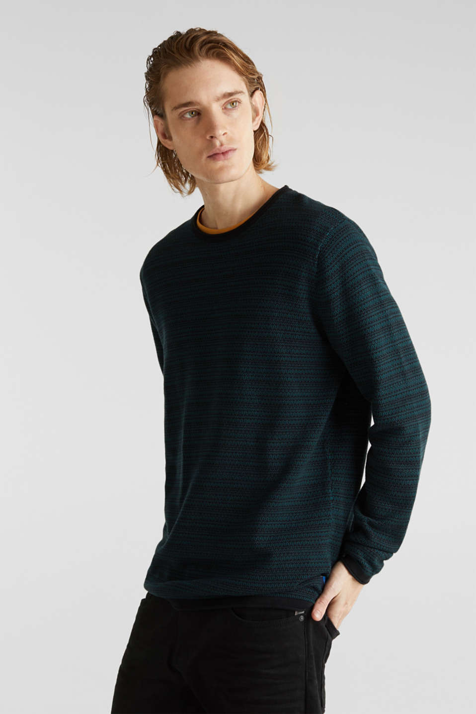 Jacquard jumper made of pure cotton, DARK TEAL GREEN, detail image number 0
