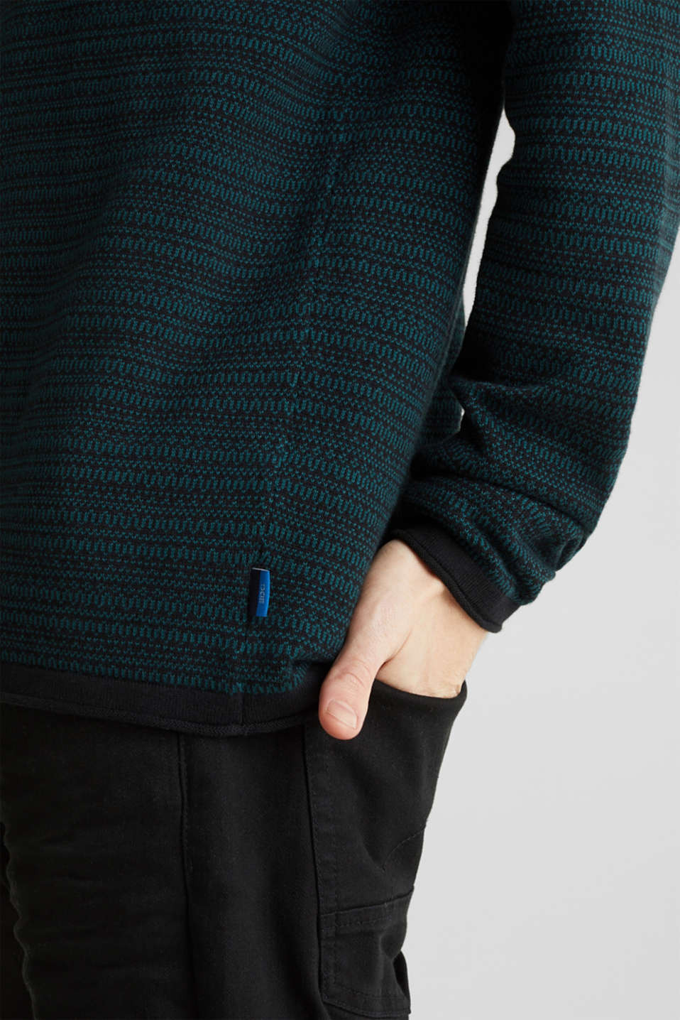 Jacquard jumper made of pure cotton, DARK TEAL GREEN, detail image number 2