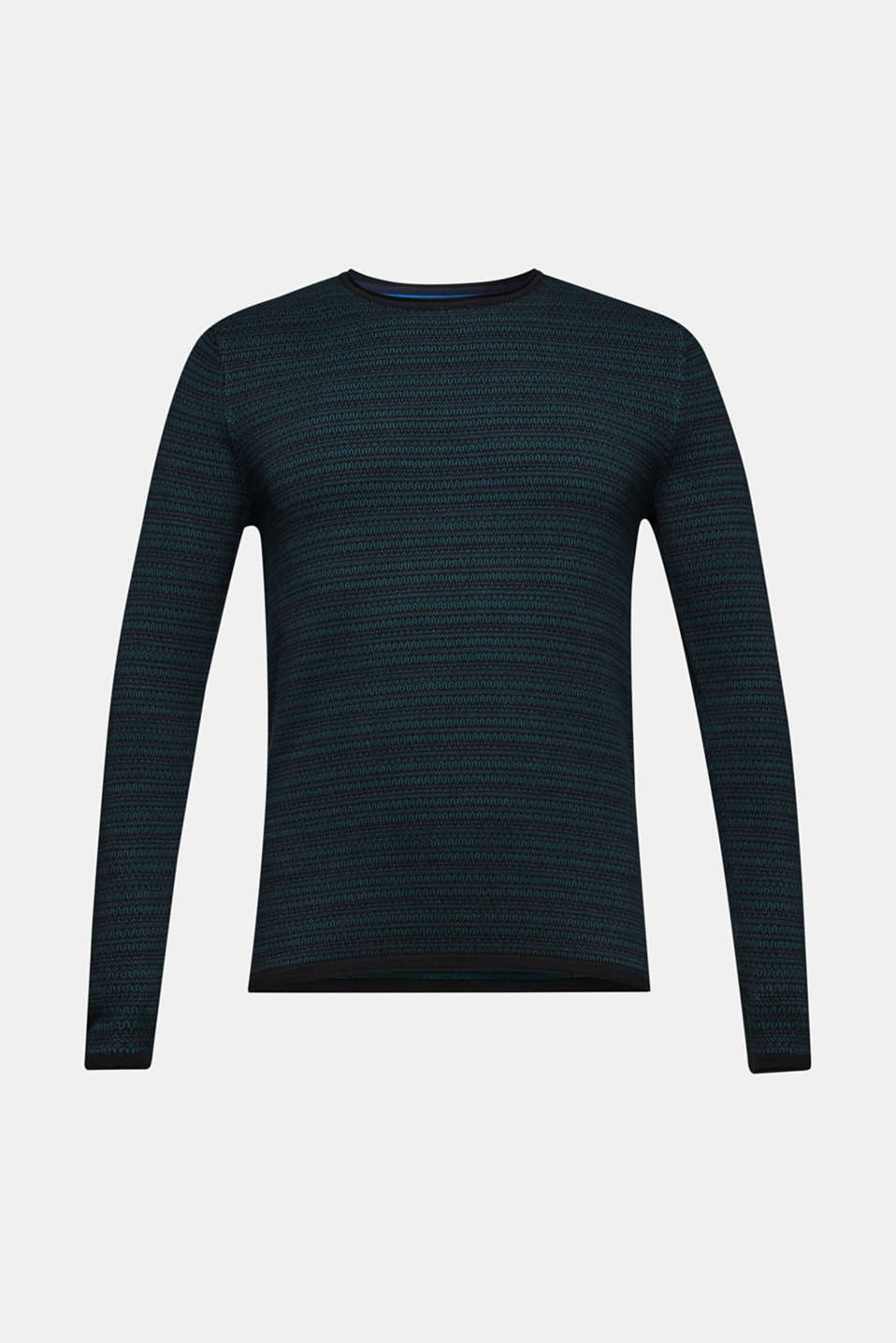 Jacquard jumper made of pure cotton, DARK TEAL GREEN, detail image number 5
