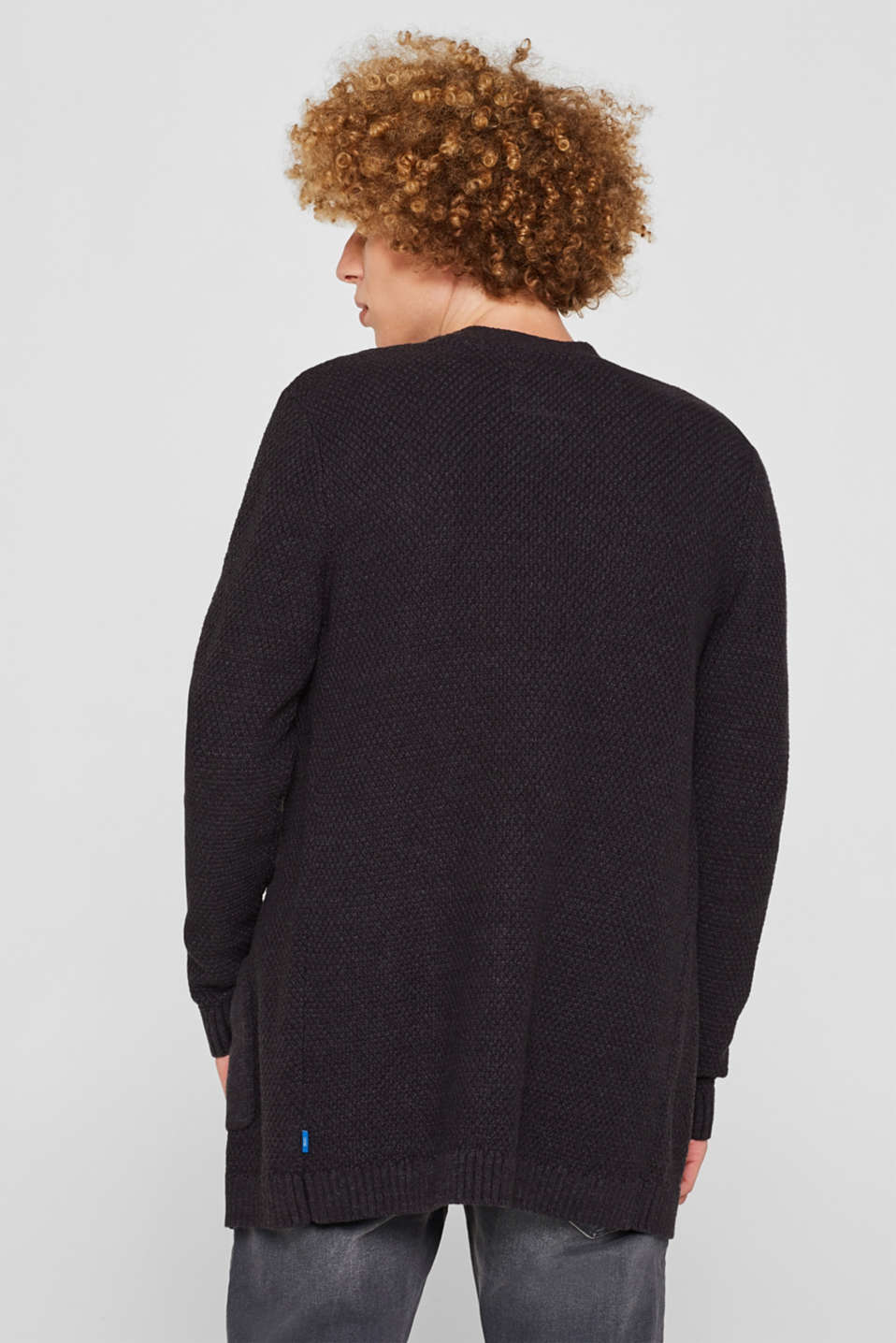 Open cardigan made of a textured knit, DARK GREY, detail image number 3