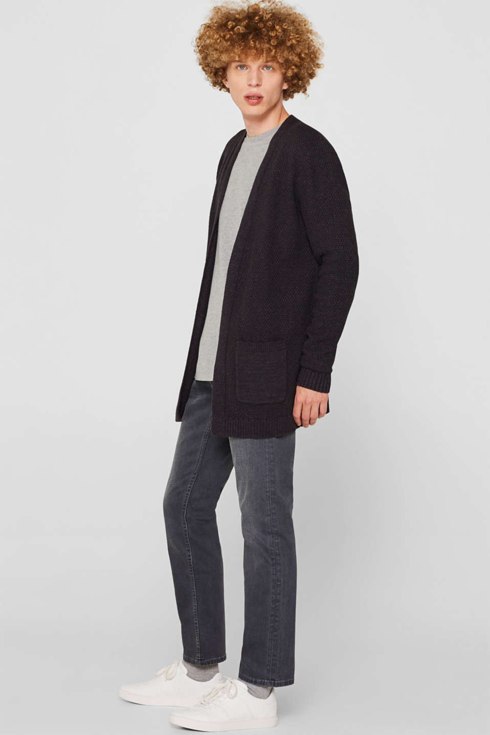 Open cardigan made of a textured knit, DARK GREY, detail image number 1